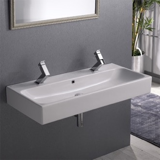 Bathroom Sink Rectangular White Ceramic Wall Mounted or Vessel Bathroom Sink CeraStyle 080500-U