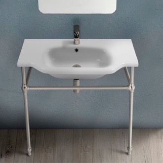 Traditional Ceramic Console Sink With Satin Nickel Stand CeraStyle 081200-CON-SN