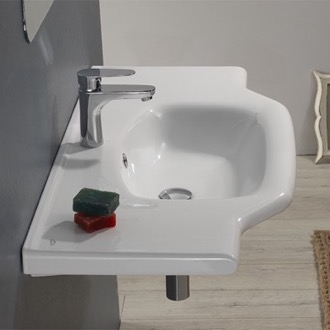 Rectangular White Ceramic Wall Mounted or Drop In Bathroom Sink CeraStyle 081200-U