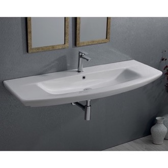 Bathroom Sink Rectangle White Ceramic Wall Mounted or Self Rimming Sink CeraStyle 083700-U