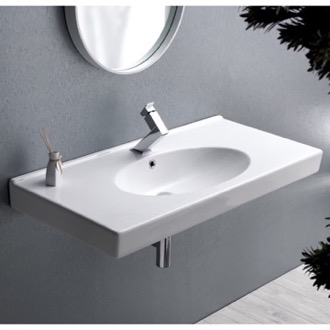 Bathroom Sink Rectangle White Ceramic Wall Mounted or Self Rimming Sink CeraStyle 084400-U