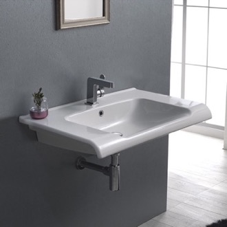 Bathroom Sink Rectangle White Ceramic Wall Mounted or Self Rimming Sink CeraStyle 090700-U