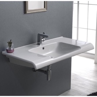 Bathroom Sink Rectangle White Ceramic Wall Mounted or Self Rimming Sink CeraStyle 090800-U