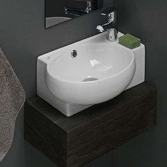 Bathroom Sink Curved Corner White Ceramic Wall Mounted or Vessel Sink CeraStyle 001300-U