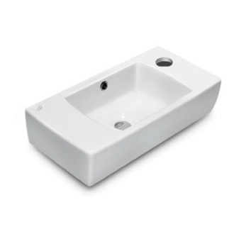 Bathroom Sink Rectangular White Ceramic Wall Mounted or Drop In Bathroom Sink CeraStyle 001500-U