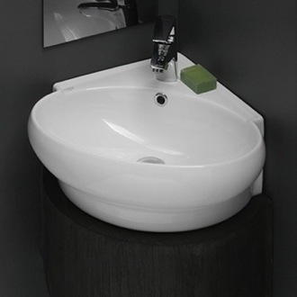 Bathroom Sink Round Corner White Ceramic Wall Mounted or Vessel Sink 002000-U CeraStyle 002000-U