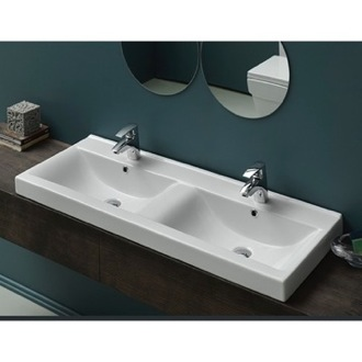 Bathroom Sink Rectangular Double White Ceramic Wall Mounted or Self-Rimming Sink 064700-U CeraStyle 064700-U