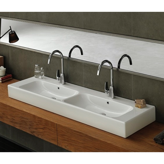 Bathroom Sink Rectangular Double White Ceramic Wall Mounted or Vessel Bathroom Sink 080900-U CeraStyle 080900-U