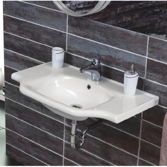 Rectangular White Ceramic Wall Mounted or Drop In Sink CeraStyle 081000-U