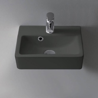 Small Matte Black Ceramic Wall Mounted or Vessel Sink CeraStyle 001409-U-97