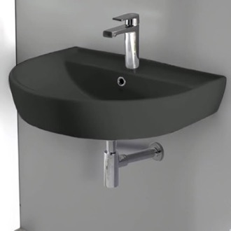 Round Matte Black Ceramic Wall Mounted Sink CeraStyle 007809-U-97
