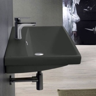 Rectangle Matte Black Ceramic Wall Mounted or Drop In Sink CeraStyle 032009-U-97