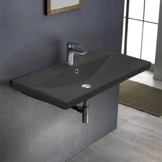 Rectangular Matte Black Ceramic Wall Mounted or Drop In Sink CeraStyle 032109-U-97