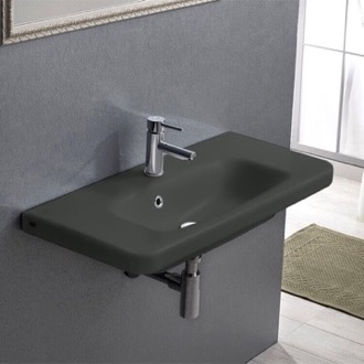 Rectangle Matte Black Ceramic Wall Mounted Sink or Drop In Sink CeraStyle 033309-U-97