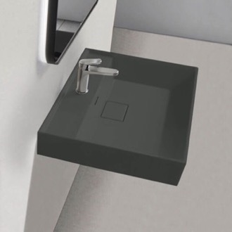 Square Matte Black Ceramic Wall Mounted or Drop In Sink CeraStyle 037009-U-97