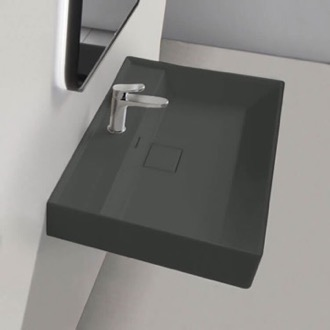 Rectangular Matte Black Ceramic Wall Mounted or Drop In Sink CeraStyle 037109-U-97-One Hole