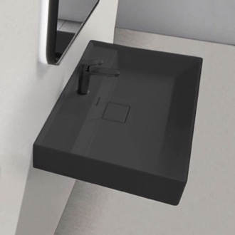 Rectangular Matte Black Ceramic Wall Mounted or Drop In Sink CeraStyle 037107-U-97