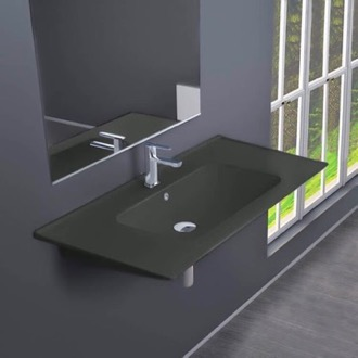 Rectangular Matte Black Ceramic Wall Mounted or Drop In Sink CeraStyle 042309-U-97