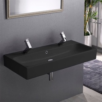 Trough Matte Black Ceramic Wall Mounted or Vessel Sink CeraStyle 080507-U-97