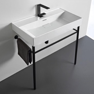 Rectangular White Ceramic Console Sink and Matte Black Stand CeraStyle 037300-U-CON-BLK