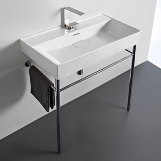 Rectangular White Ceramic Console Sink and Polished Chrome Stand CeraStyle 037300-U-CON