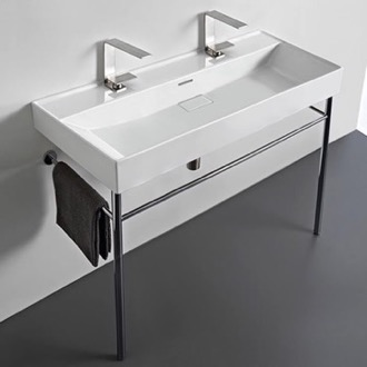 Trough White Ceramic Console Sink and Polished Chrome Stand CeraStyle 037600-U-CON