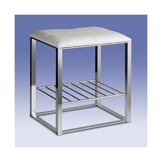 Bathroom Stool Chrome Bathroom Stool with White Leather Top and Shelf 40306 Windisch 40306