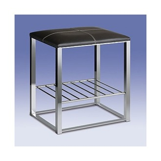 Bathroom Stool Chrome Bathroom Stool with Brown Leather Top and Shelf 40316 Windisch 40316