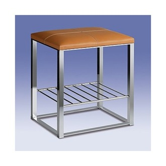 Bathroom Stool Chrome Bathroom Stool with Natural Leather Top and Shelf 40326 Windisch 40326