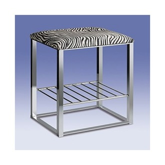 Bathroom Stool Chrome Bathroom Stool with Zebra Leather Top and Shelf 40336 Windisch 40336