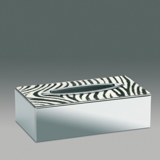 Rectangle Chrome Tissue Box Cover with Zebra Design Windisch 87119Z