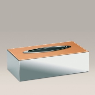Tissue Box Cover Chrome Tissue Box Cover with Natural Leather 87121QD Windisch 87121QD