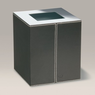 Waste Basket Square Brown Leather Covered Chrome Bathroom Waste Bin 89138R Windisch 89138R