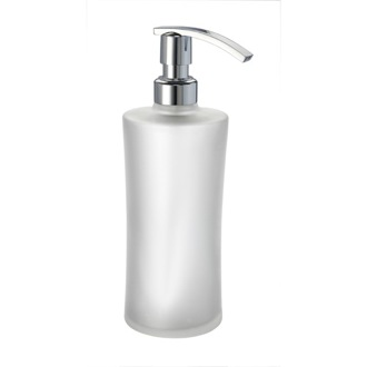 Soap Dispenser Round Black or White Frosted Crystal Glass Soap Dispenser Windisch 90114