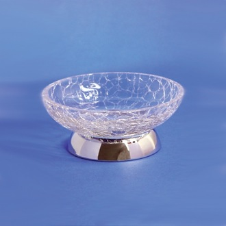 Soap Dish Round Crackled Crystal Glass Soap Dish Windisch 92675D
