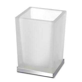 Toothbrush Holder Black or White Frosted Glass Bathroom Tumbler with Chrome 94125CR Windisch 94125CR