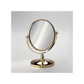 Makeup Mirror Double Face 3x or 5x Brass Magnifying Mirror In Chrome And Gold 99102D Windisch 99102D