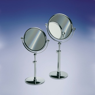 Makeup Mirror Pedestal Double Face Brass 3x, 5x Magnifying Mirror 99131D Windisch 99131D
