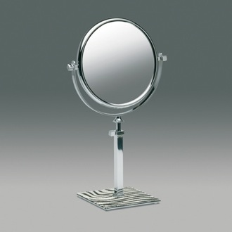 Makeup Mirror Pedestal Double Face Chrome 3x, 5x, or 7x Magnifying Mirror with Zebra Design 99135Z Windisch 99135Z