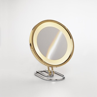 Makeup Mirror Round Contemporary Gold 3x or 5x Magnifying Mirror 99154D Windisch 99154D