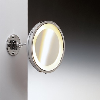 Makeup Mirror Wall Mounted Brass Lighted 3x Magnifying Mirror 99156D Windisch 99156D