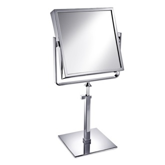 Makeup Mirror Square Brass Pedestal Double Face 3x or 5x Magnifying Mirror Windisch 99335