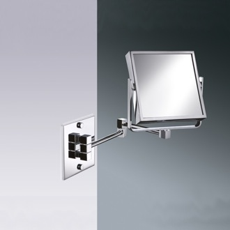 Makeup Mirror Square Wall Mounted Brass Double Face 3x or 5x Magnifying Mirror 99345 Windisch 99345