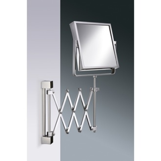Makeup Mirror Square Wall Mounted Extendable 3x or 5x Brass Magnifying Mirror Windisch 99348