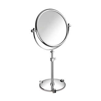 Makeup Mirror Chrome or Gold Pedestal Double Face with White Crystals 3x or 5x Magnifying Mirror 99526B Windisch 99526B