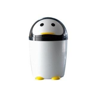 Waste Basket Round Black and White Plastic Penguin Waste Bin 1009-24 Gedy 1009-24