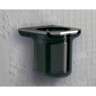 Anthracite and Chrome Round Wall Mounted Thermoplastic Resin Toothbrush Holder Gedy 1410-57