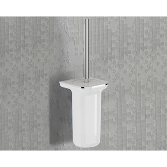 Toilet Brush White and Chrome Square Wall Mounted Toilet Brush Holder 1433-03-23 Gedy 1433-03-23