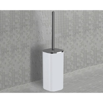 Toilet Brush White and Chrome Square Toilet Brush Holder 1433-23 Gedy 1433-23