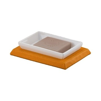 Soap Dish Rectangle Orange Faux Leather Soap Holder 1511-67 Gedy 1511-67